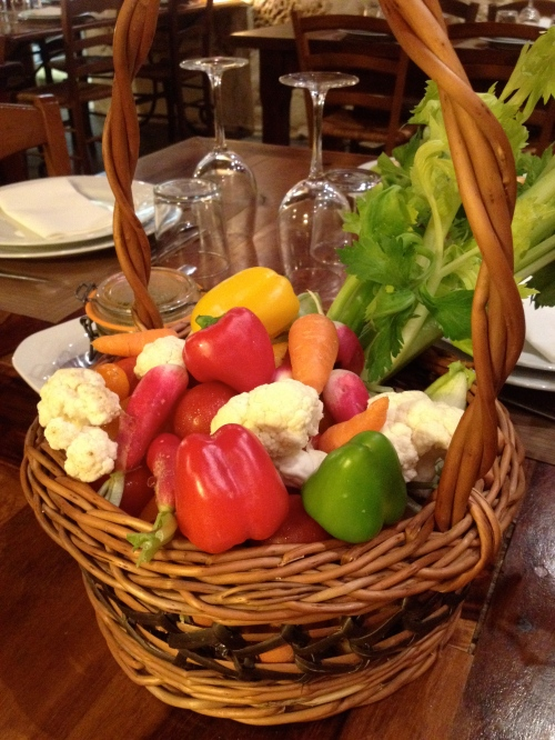 This basket of veggies was on our table, for us to eat we wished.  We even found some boiled eggs and some cooked fingerling potatoes in there!