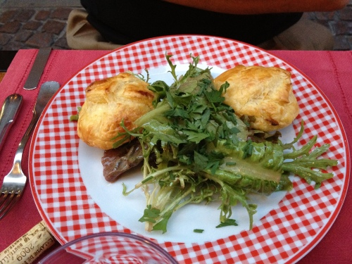 Mark had a salad with two piping hot clouds of goat cheese in puff pastry!