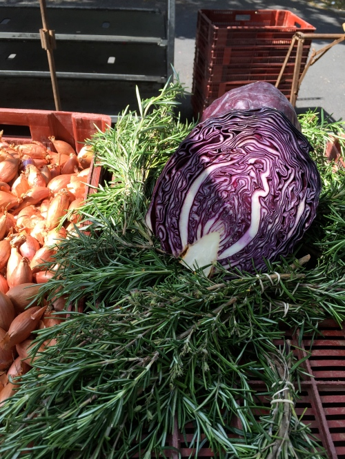 cabbage and rosemary with a side of shallots